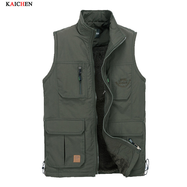 High-quality Thickening jackets military style men's casual wearing Sided multi-pocket vest photography vest New