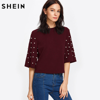 SHEIN Burgundy Women T Shirt Pearl Embellished Fluted Sleeve Tee Womens Casual Tops Half Sleeve Round