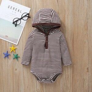 Image 4 - new born baby cartoon bear clothes set long sleeve Sweater+stripe romper+pants 2020 autumn outfit newborn boy clothing winter
