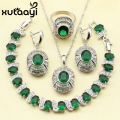 Cheerful 925 Silver Overlay Women Jewelry Set Green Created Emerald Four Piece Sets Ring Necklace Pendant Bracelet Earring