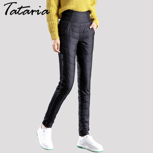 Women Winter Down Pants Warm Trousers Thickening Pantalon Femme Female High Waist Pant For Women Plus Size Clothing Tataria