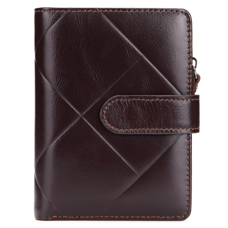 2018 New Genuine Leather Mens wallet vintage brand Big lattice purse with coin bag for male cow leather zipper card holder
