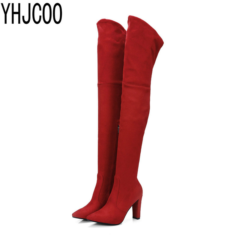 2017 New Sexy Pointy Toe Suede Over-the-Knee Boots Woman High Heels Boots Fashion Women's Shoes Size 34-43 new women suede sexy fashion over the knee boots sexy high heel boots platform woman shoes black blue size 34 43
