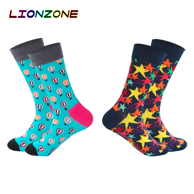 Men's Socks Lionzone 2pairs/lot 2018 Spring Dress Funny Socks Men Geometric Figure Skate Wedding Novelty Cotton Long Crew Socks Art