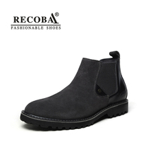 Men chelsea boots suede black genuine nubuck leather large size 45 ankle fashion boots for men martin western spring boots