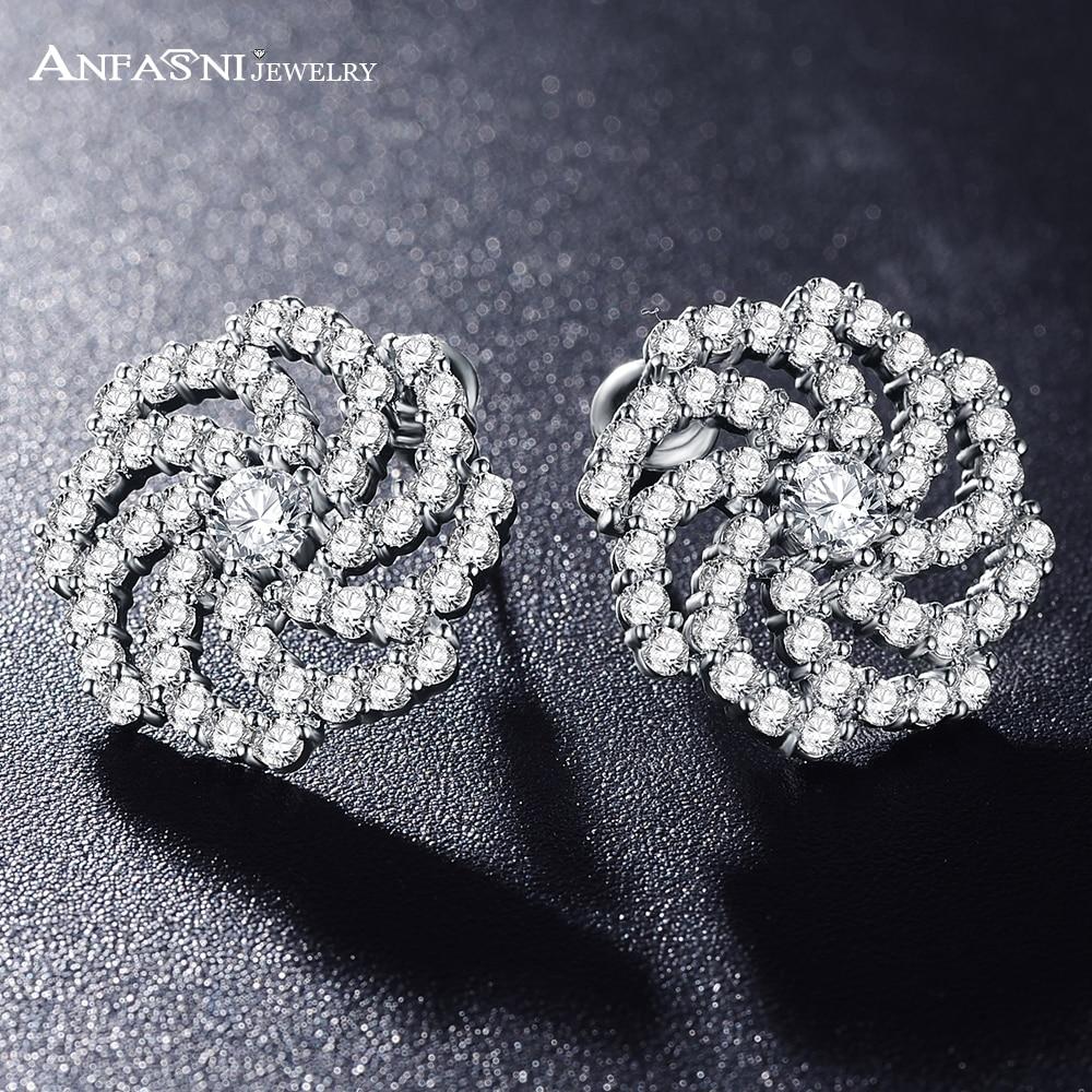 ANFASNI Luxury Clear Silver Color Flower Stud Earrings With Zircon Stone Women Birthday Gift Bijouterie CER0200-B