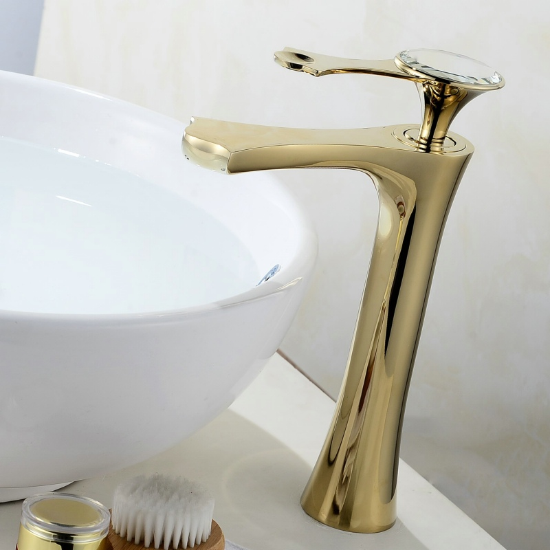 European Basin Faucets Brass Electroplate Polished Gold Faucet For Kitchen Single Handle Hole Deck Mounted Mixer Water Tap tapcet brass kitchen cold and hot water mixer tap basin faucets chrome polished single hole water tap kitchen faucet