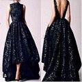 2016 Árabe Hi Low vestidos de Baile em Preto 2016 Ocasião Alta Neck Backless Formal Vestidos de Mulheres Do Partido Do Vintage Vestidos de Rendas À Noite
