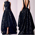 2016 Arabic Hi Low Black Prom dresses Vintage 2016 Occasion High Neck Backless Formal Women Party Gowns Lace Evening Dresses