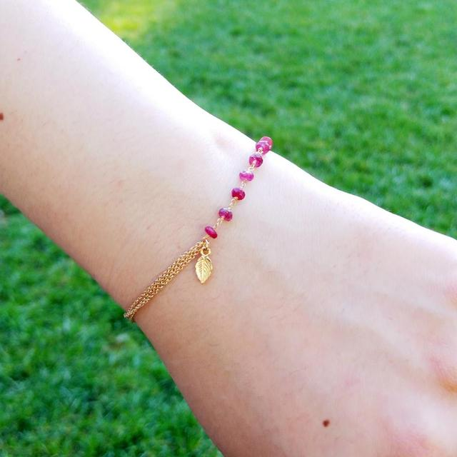 Red Ruby Bracelet 925 Sterling Silver 18K Gold Plated 1