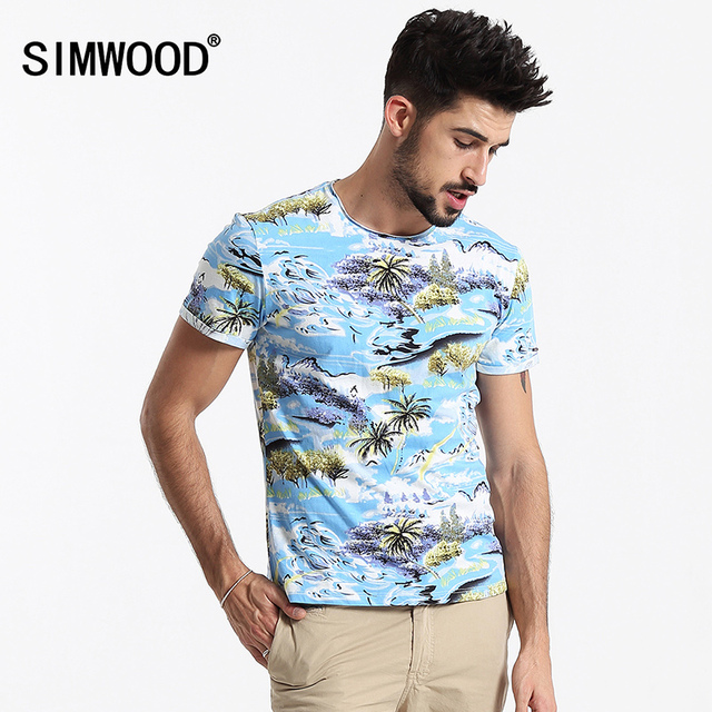 SIMWOOD Brand Men T shirt Summer Short-sleeved O-neck Print Slim Fit Casual Men T-shirts Tops Tee Plus Size Free Shipping TD1090