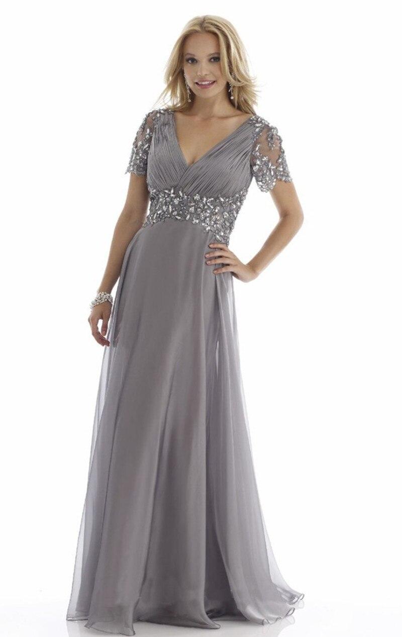 US $200.6 35% OFF|Backlackgirl Grey Plus Size Mother Of The Bride Dresses  Short Sleeve Evening Gowns Crystal Vestido De Madrinha Godmother Dresses-in  ...