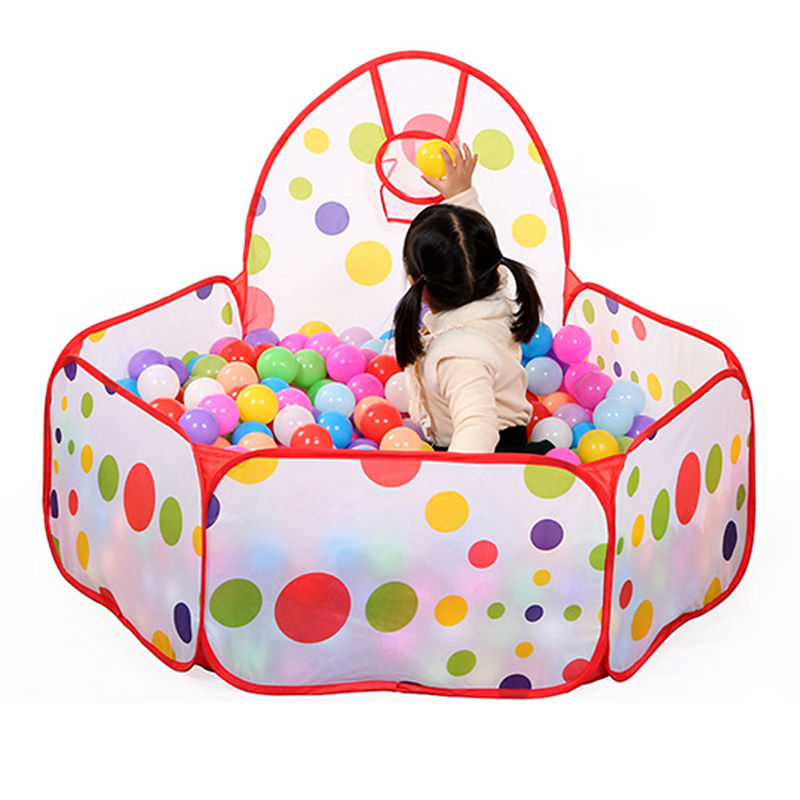 Foldable Kids Ocean Ball Pit Pool Game Play Tent Indoor/Outdoor Baby Game Toy Play House With Ball Hoop 90cm/120cm/150cm