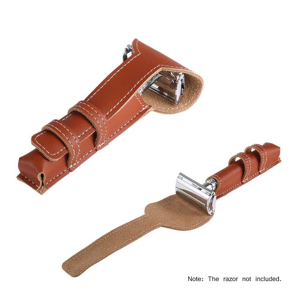 Коричневый кожаный чехол из воловьей кожи, защитный чехол для хранения бритвы, Классическая Двусторонняя бритва, кожаный чехол, сумка-держатель для бритвы