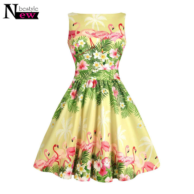 7237b31602f1b Women Retro 50s 60s Rockabilly Swing Dress Women Flamingo Border Printed A  Line Dress Floral Printing Knee-length Party Dress