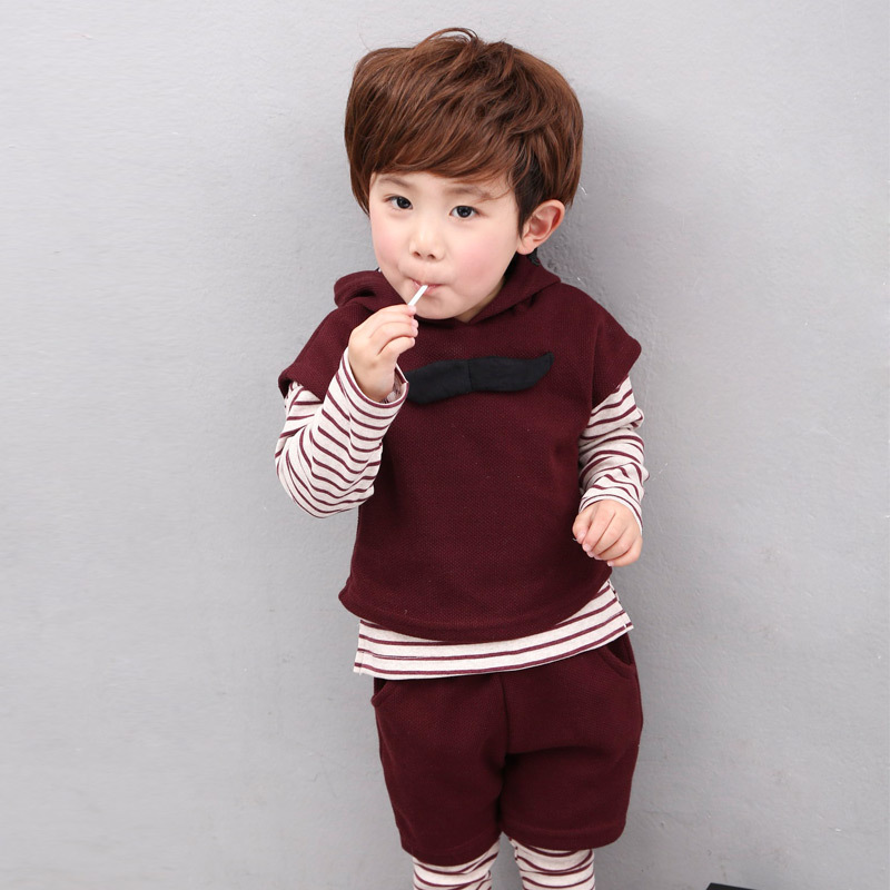 2017 new British children's suit Autumn&Spring boy three-piece suit clothing Cotton Hooded coat Long sleeves pullovers 1 2 3 4 5