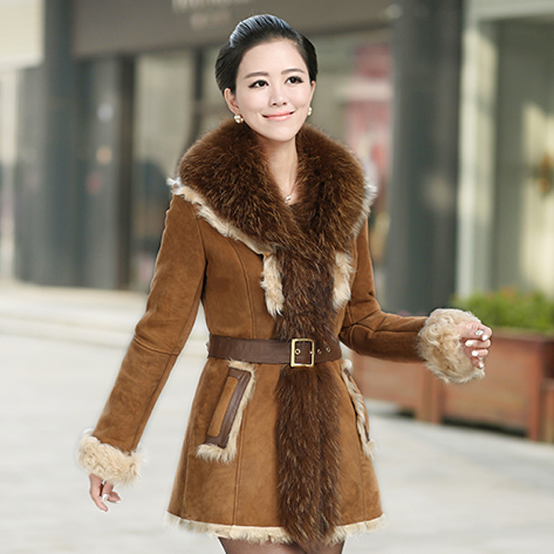2015 Winter Women's Real Raccoon Fur Collar Genuine Lamb Skin Fur ...