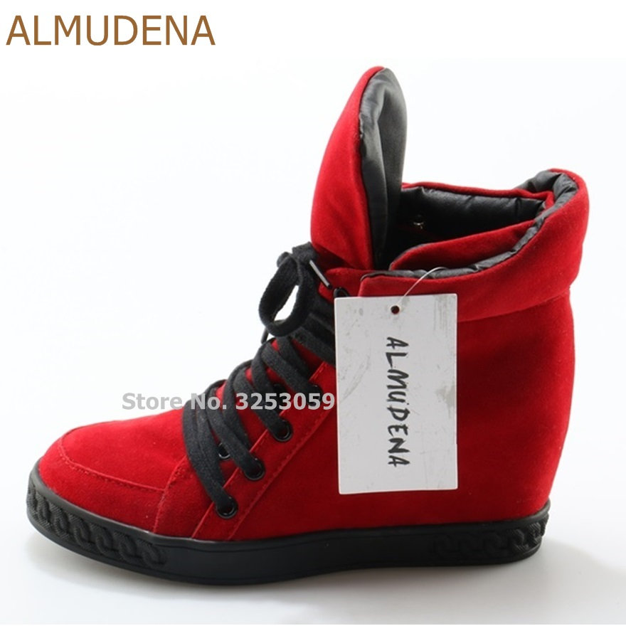 ALMUDENA Sweet Stylish Red Suede Wedge Heel Sneakers Lace-up High Top Patchwork Motorcycle Boots Chic Ankle Boots Casual Shoes stylish lace up straight slim jacket
