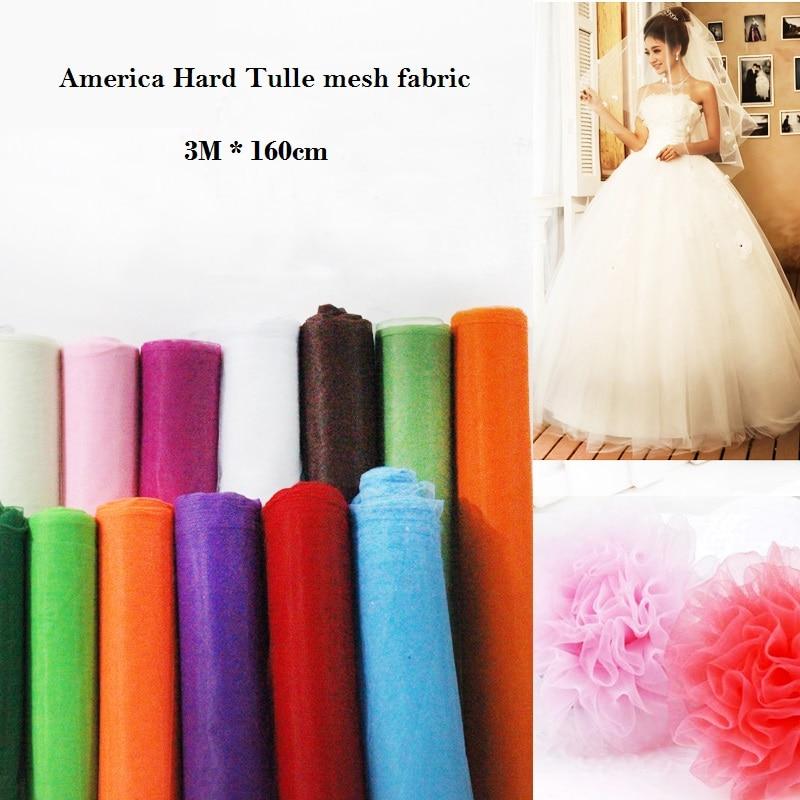 3m America Hard Tulle mesh ქსოვილი 160cm ფართო საქორწილო კაბა ქსოვილის სამკერვალო DIY თოჯინა tutu skirt ნართის ქსოვილის ქსოვილის მასალა