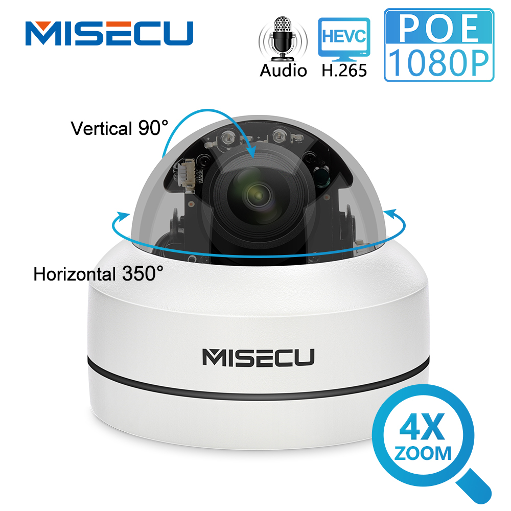 MISECU 4X H.265 1080P Câmera PTZ IP Zoom Mini Speed Dome Metal 2MP POE Onvif CCTV Segurança Ao Ar Livre À Prova D' Água p2P 40M Câmera do IR