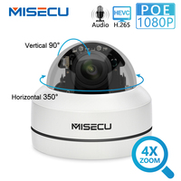 MISECU H.265 1080P PTZ IP Camera 4X Zoom Mini Speed Dome Metal Outdoor Waterproof 2MP POE CCTV Security Onvif P2P IR 40M Camera