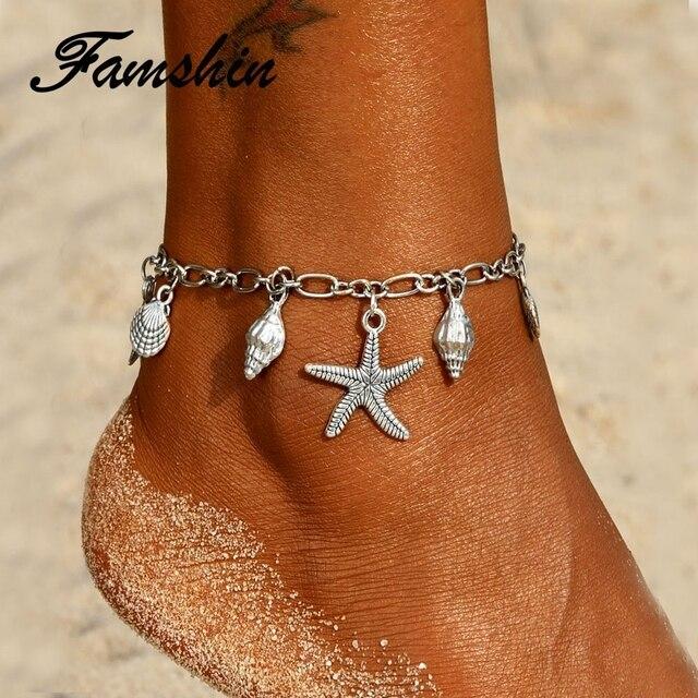 Pulsera para el tobillo con colgante de tortuga con forma de estrella de mar para mujer 2018 pulseras para el tobillo con forma de concha en la pierna joyería Bohemia para el océano