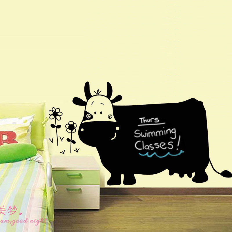 60x130cm Healthy Vinyl Lovely Cow Blackboard Whiteboard Pen Chalk ...