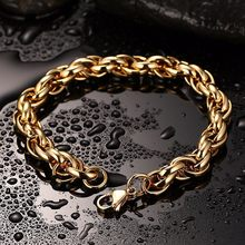 Premium Hip Hop Jewelry Bold Round Link Chain Bracelet in Stainless Steel Golden Bracelets Men Jewellery(China)