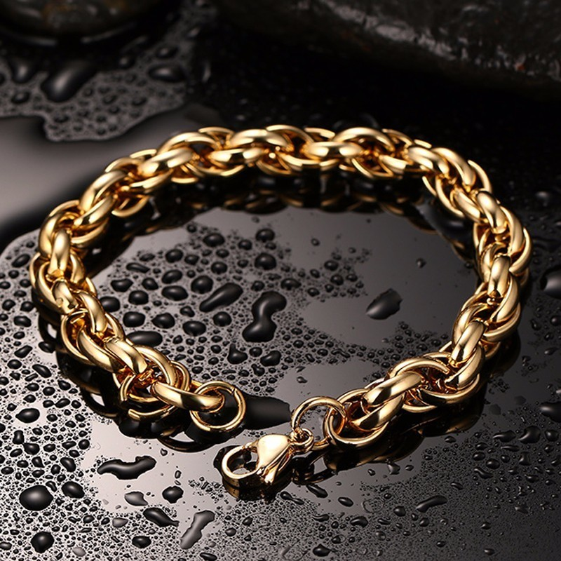 Premium Hip Hop Jewelry Bold Round Link Chain Bracelet in Stainless Steel Golden Bracelets Men Jewellery