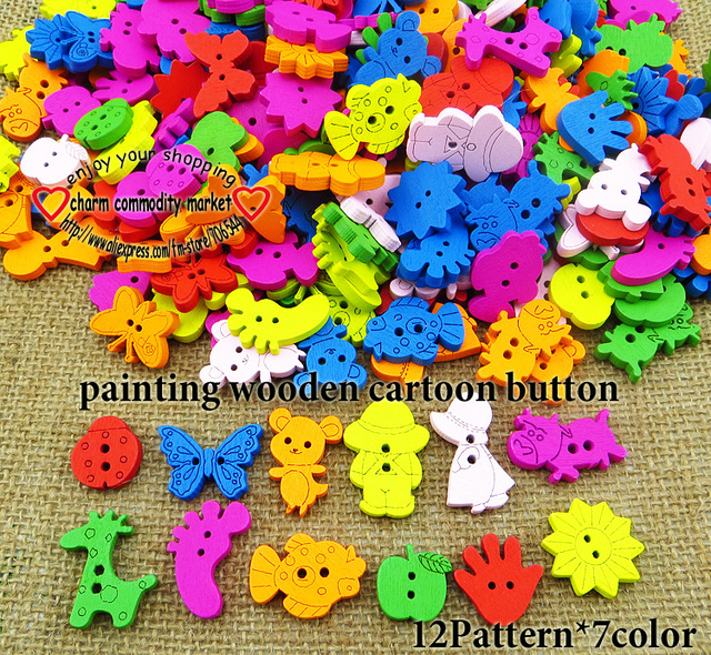100pcs MIXED WOODEN CARTOONS BUTTONS CLOTHING ACCESSORY CHARMS JEWELRY WCB-078a