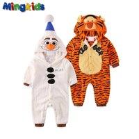 Mingkids Baby Boy Rompers Jumpsuits Snowman Sleepsuit Pajamas Costume Cosplay Warm Fleece