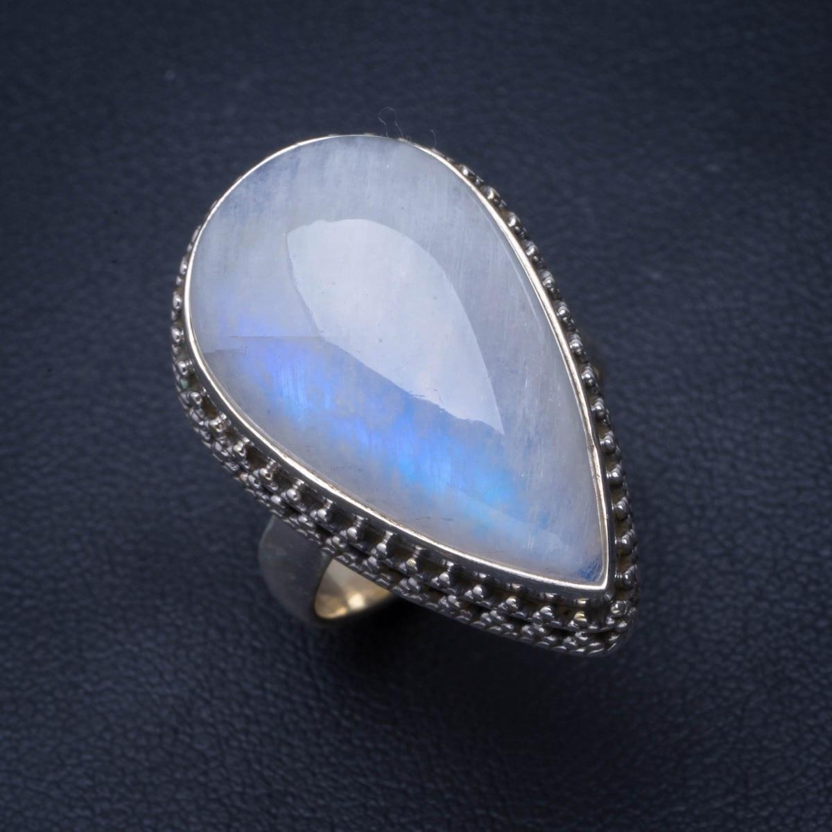 Bague naturelle en argent Sterling 925 fait main en pierre de lune arc-en-ciel 7 B1440