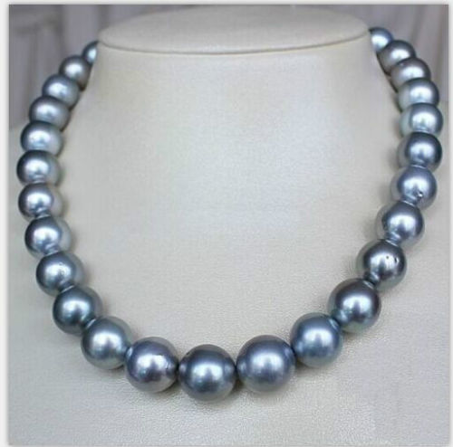 free shipping >>south sea round silver grey pearl necklace