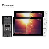 FREE SHIPPING Home Security 9 Inch TFT LCD Video Door Phone Intercom System With 2 White