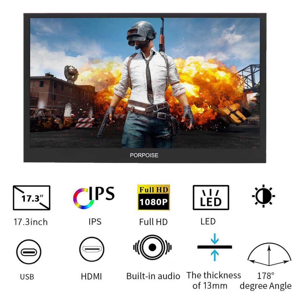 17.3 Inch HDMI HD 1080P HDR Loại-C Di Động Màn HÌNH IPS Màn Hình Màn Hình Hiển Thị Trên Xe cho PS4 XBOX PC máy tính/loa/điện thoại di động