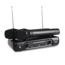 V2 Professional VHF Wireless Microphone System Dual Cordless Handheld ktv singing home karaoke microphone one for two Mic цена