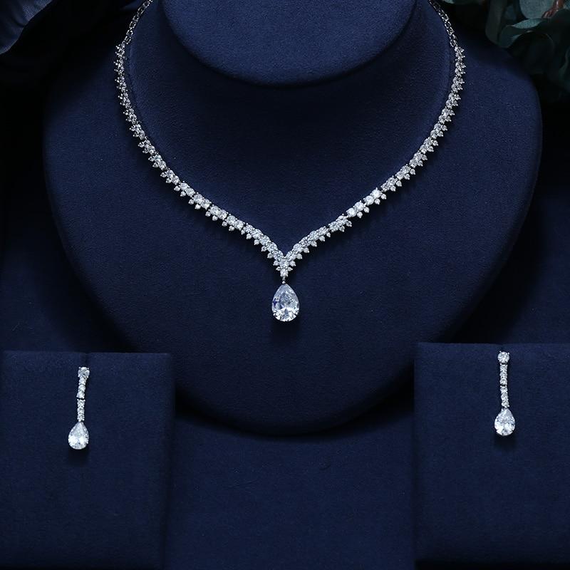 ZIRCON EARRINGS NECKLACE Bridal-Jewelry-Set Wedding-Dress CRYSTAL ACCESSARIES BRILLIANT