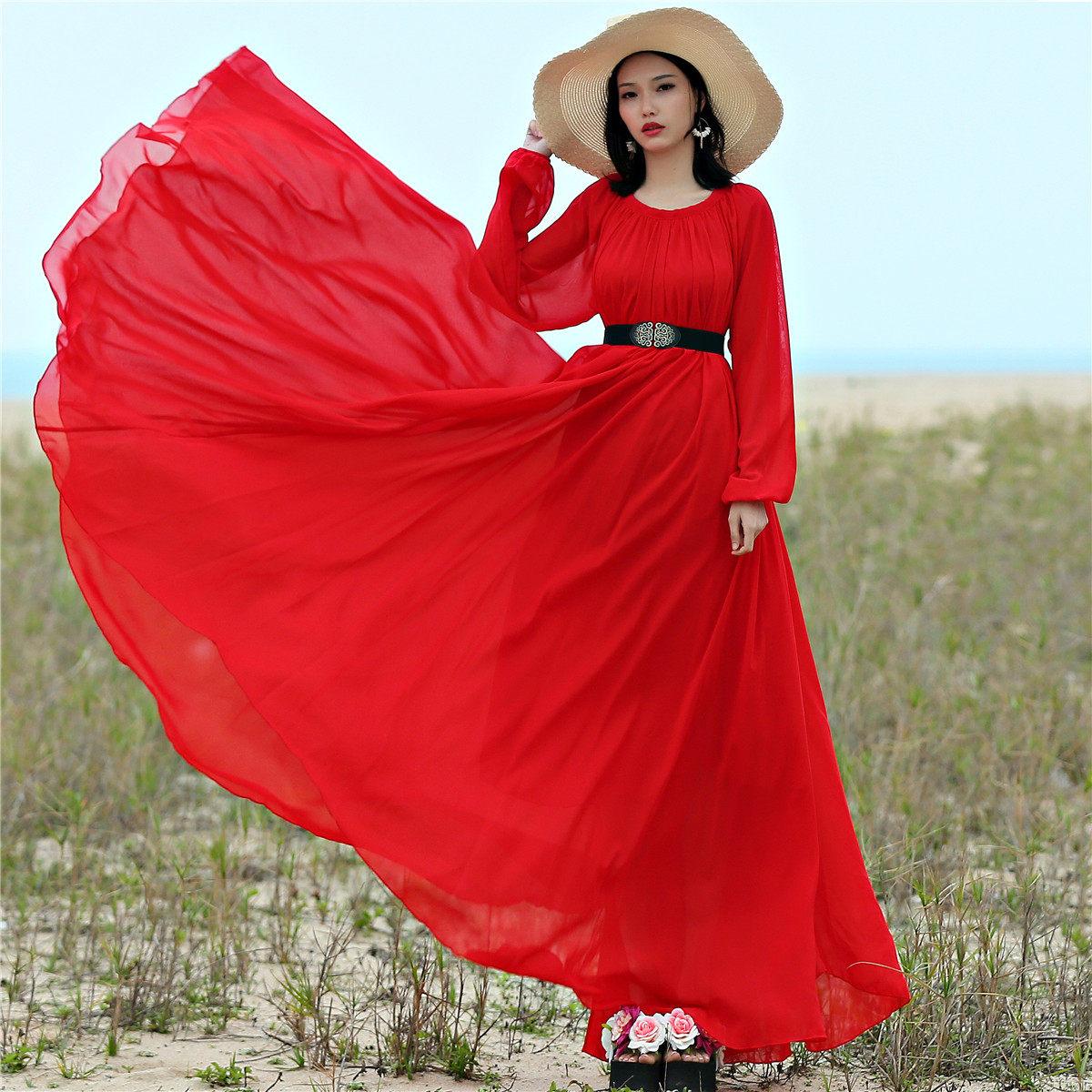 2019 long sleeve chiffon maxi dress bohemia dress full plus size celebrity  graduation Dinner e27037b8b58e