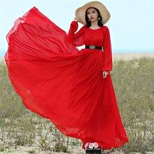 2017 chiffon maxi dress bohemia full plus size celebrity/graduation/Dinner Dress Beach Sundress