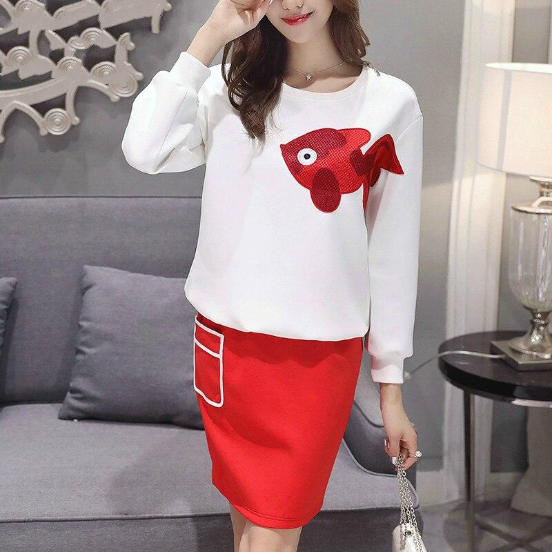 Femmes Causel 2 pièces ensemble filles jupes costumes blanc manches longues t-shirts + rouge mini jupe tenue pour les filles