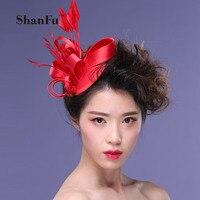 ShanFu Kadınlar Saten Fascinator Tüy Kafa Düğün Şapka SFC12121