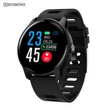 SENBONO S08 גברים ספורט מד צעדים חכם שעון IP68 עמיד למים גשש כושר קצב לב צג נשים שעון Smartwatch