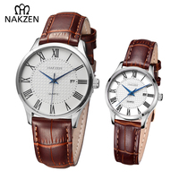 Couple Watches His and Hers Classic Retro Leather Strap Wrist Watch Life Waterproof Quartz Male Ladies Clock For Valentine Gifts