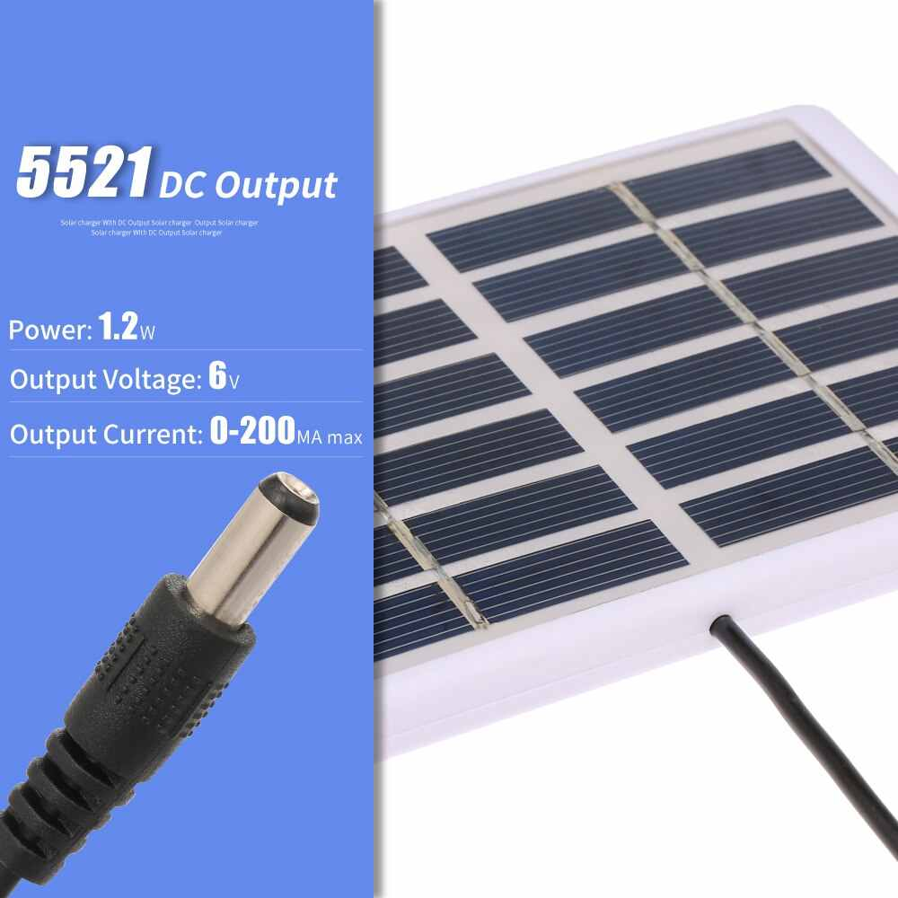 84*130mm Portable Solar Panel For Mobile Battery Cell Phone Chargers 1.2W/6V Solar Charger 3M Cable Battery Charger