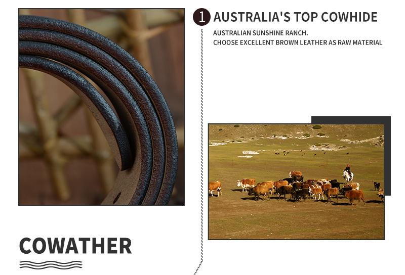 حزام COWATHER جلد طبيعي للرجال 11