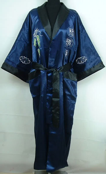 Hottest Navy Blue Male Satin Reversible Bathrobe Chinese Traditional Bath Gown Nightwear Wholesale Retail One Size MR008