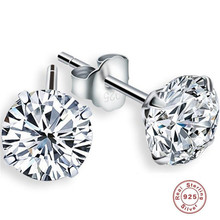 YKNRBPH S925 Sterling Silver Earrings Fashion Temperament Simple Three Claw Micro Embedded AAA Zircon Stud