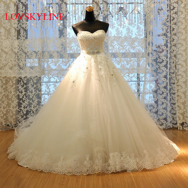 2018 spring bride married tube top plus size Sweetheart Applique Lace up A Line Sweep Train