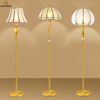Nordic Retro Copper Floor Lamp Living Room Decorative Vertical Standing Lamp Modern Simple Bedroom Bedside Lighting Stand Light