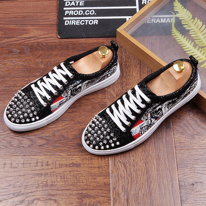 Fashion Men's Sneakers Studded Rivets Casual Black Round Toe Shoes Man Heavy Bottom Lace Up Male Flats Zapatos Hombre-in Men's Casual Shoes from Shoes on Aliexpress.com | Alibaba Group 34
